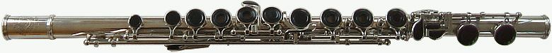 close up photo of a wessel flute with black keys